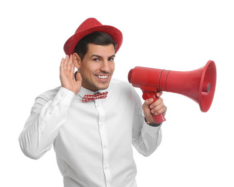 shutterstock contributors royalty announcement man megaphone