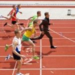 businessman running athletes race track