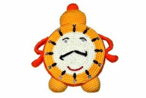 happy knitted clock face person time